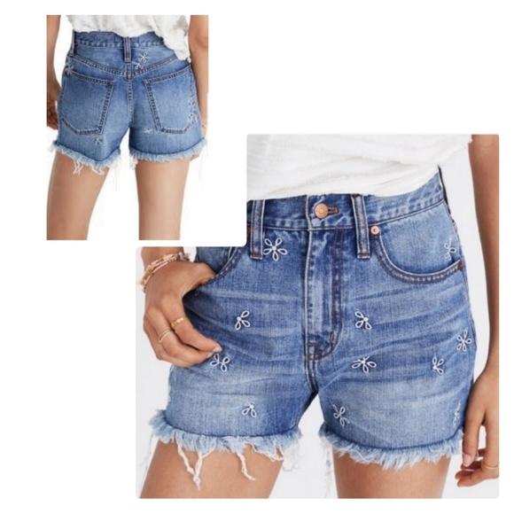 e5642e4ef0f2 Madewell Shorts | Nwt Daisy Embroidered Perfect Jean Short | Poshmark